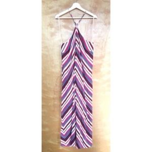 NWT Loft Striped Pink Teal Maxi Size L